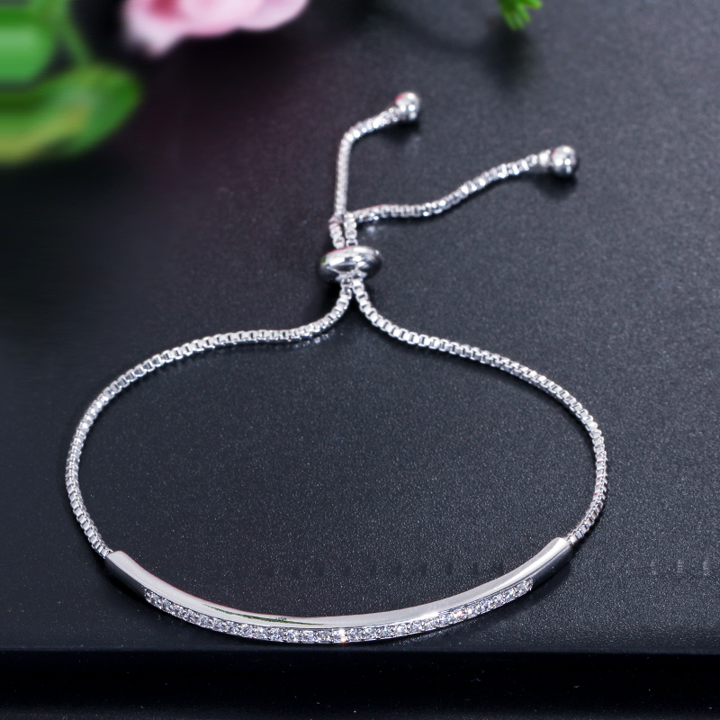 Elegant Zircons Adjustable Bracelet Bangle Women Jewelry