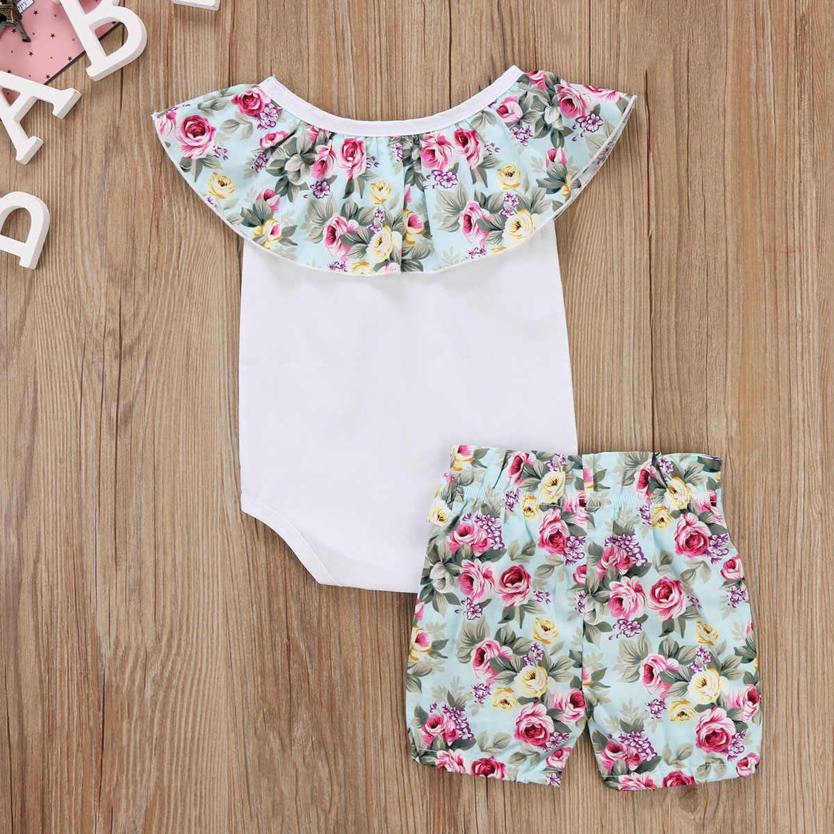 יילוד תינוקות תינוקת סט 2 יחידות כבוי Romper הכתף לבן חולצות טלאי הדפסת מכנסיים מכנסיים קצרים פרחוניים תלבושות בגדי בנות