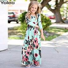 43ed8c02cf Darmowa Wysyłka Jesień Czeski Dziewczyna Długa Sukienka Plaża Floral Maxi Dzieci  Sukienki dla Dziewczynek vestidos Party roupas .