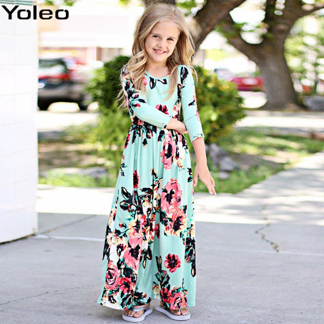 92120a28601e8 US $9.78 23% OFF|Free Shipping Autumn Bohemian Girl Long Dress Beach Floral  Maxi Kids Dresses for Girls vestidos Party roupas infantis menina-in ...