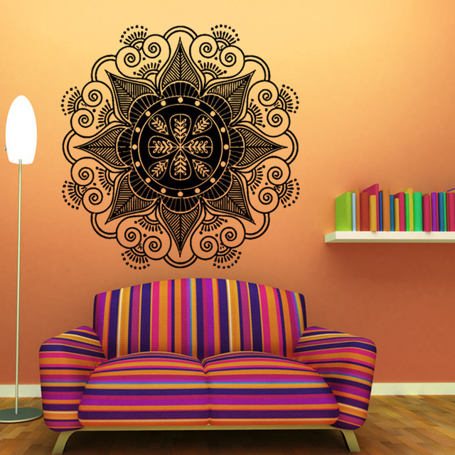 Buddhism India Mandala Wall Stickers Namaste Removable Creative Vinyl Wallpaper Mural Home Decoration