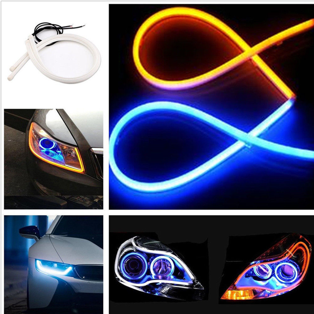 2x Daytime Running Light Universal Tube Guide Soft and Flexible Car LED Strip DRL White and Yellow turn signal light Car Styling 2017 2pcs 30cm led white car flexible drl daytime running strip light soft tube lamp luz ligero new hot drop shipping oct10