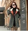 Жира мм плюс размер женщин одежда осень и зима шерстяное пальто Женщины длинные участки толстый капюшоном кашемировые пальто шерсти
