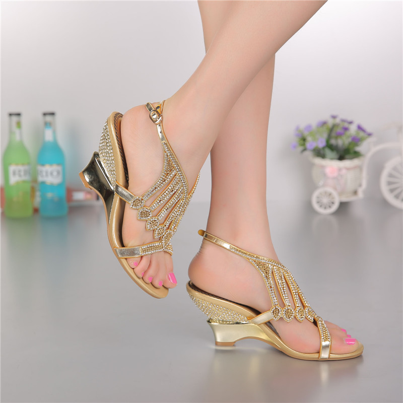 Aliexpress.com : Buy 2016 Summer Style Gold Coloured High Heeled ...