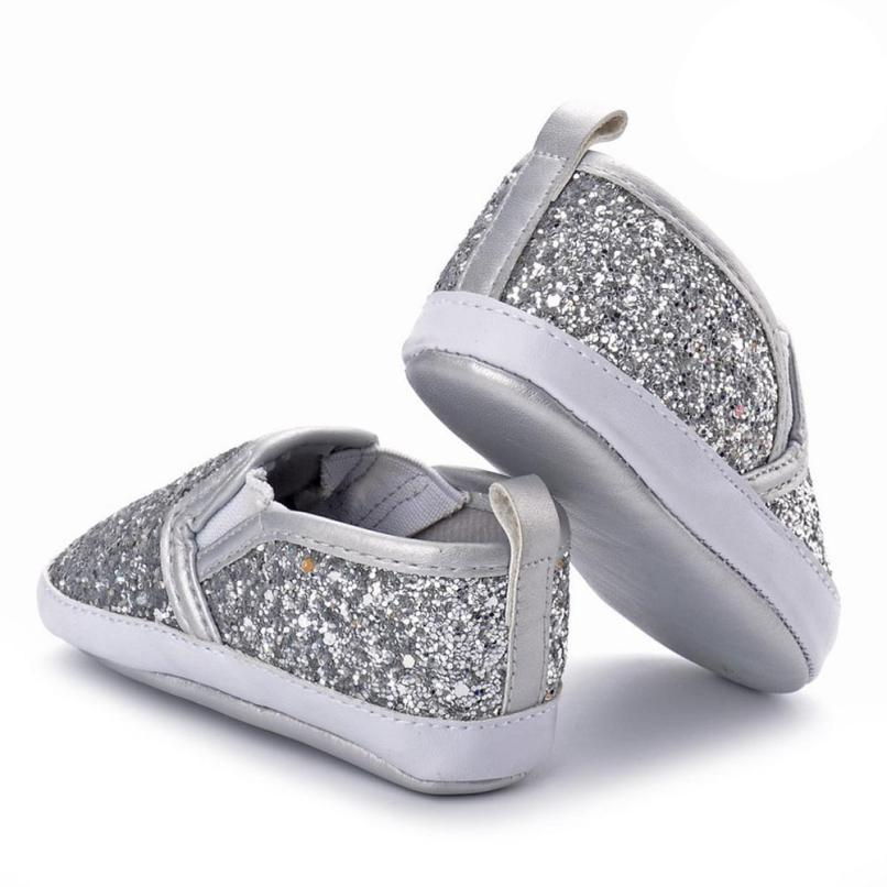 Newborn Girls Boys Crib Shoes Soft Sole Anti-slip Baby Sneakers Sequins Shoes UK F2