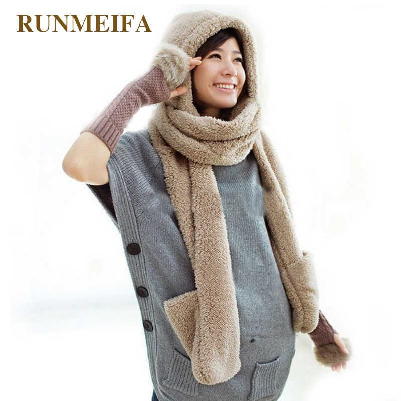 RUNMEIFA  chal grueso y suave invierno bufandas y manoplas con capucha  abrigadas para mujeres edc63deb80a