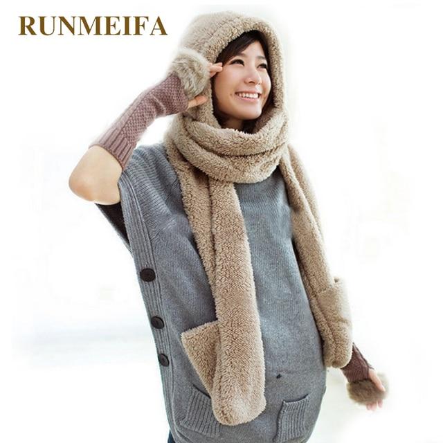 [RUNMEIFA] толстая и мягкая шаль зимние теплые с капюшоном шарфы и варежки для женщин много цветов cleative дизайн шарф перчатки шаль
