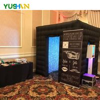 Hanging your backdrop at photo booth inside outside black inflatable mirror photobooth with no LED Lights Photo Boot For Event