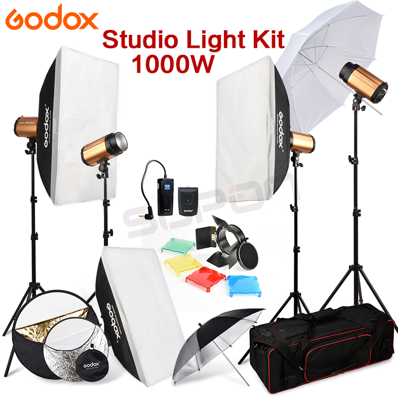 Godox 250SDI 4x250 W Estúdio Flash Light stand com Carry Bag Caixa Macia 1000Ws kit Suporte de Luz 110 v-240 V