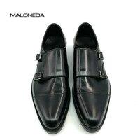 MALONEDA квадратный Captoe Double Monk ремни черный ручной работы Для Мужчин's Лакированная кожа дышащая Goodyear Welted обуви Для мужчин