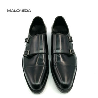 MALONEDA Square Captoe Double Monk Straps Black Handmade Men's Patent Leather Breathable Goodyear Welted Shoe Men
