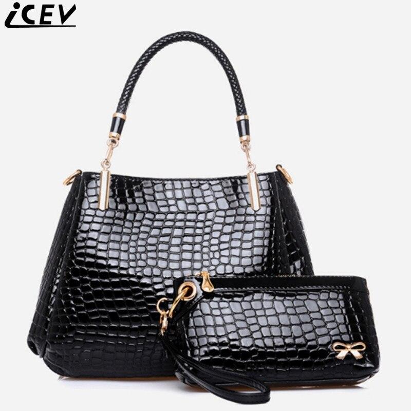 ICEV Brand Fashion Crocodile Handbag and Purse Embossed Pattern Tote Bags For Women Messenger Bag High Quality Female Bags Set
