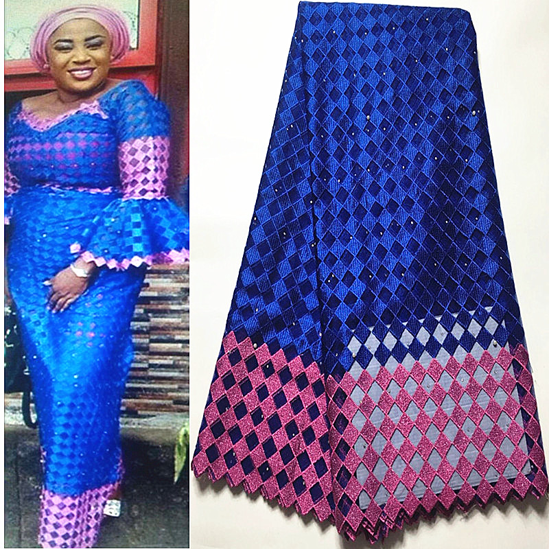 2018 Hot Sale Royal Blue Nigerian Laces Fabrics High Quality Tulle African Laces Fabric Wedding African French Net Lace #3329-1 2018 hot sale nigerian african lace fabrics french guipure tulle gold line bridal lace fabric for wedding party dress 5yds c8415