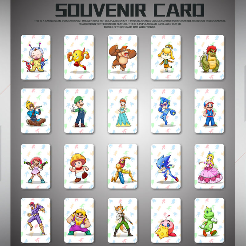 20 Pcs/ lot Mario Kart 8 Deluxe NFC Tag Cards Set For NS Switch цена и фото
