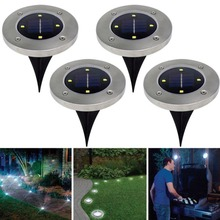 Beauty Waterproof Solar Powered LED Disk Lights Outdoor Garden Stair Lights As S