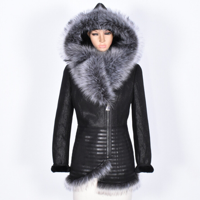 Real Fur Leather Jacket Women Natural Big Fox Fur Collar Hooded Coat Slim Fit Vintage Luxury Brand Genuine Leather Outwear 7XL
