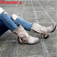 2017 hot chaussure femme genuine leather cowboy boots leather stockings rain boots buckle strap zip botas mujer shoes woman