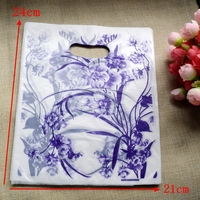 200 adet/grup Toptan Mor çiçek Plastik Torba 24*21 cm Kolu Ile Alışveriş Takı Ambalaj Plastik Hediye Çantası