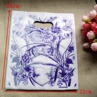 200 pçs/lote Atacado flor Roxa Saco De Plástico 24*21 cm Jóias Embalagem Saco Do Presente de Plástico Com Alça de Compras