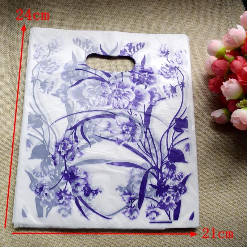 200pcs/lot Wholesale Purple flower Plastic <font><b>Bag</b></font> 24*21cm <font><b>Shopping</b></font> Jewelry Packaging Plastic Gift <font><b>Bag</b></font> With Handle