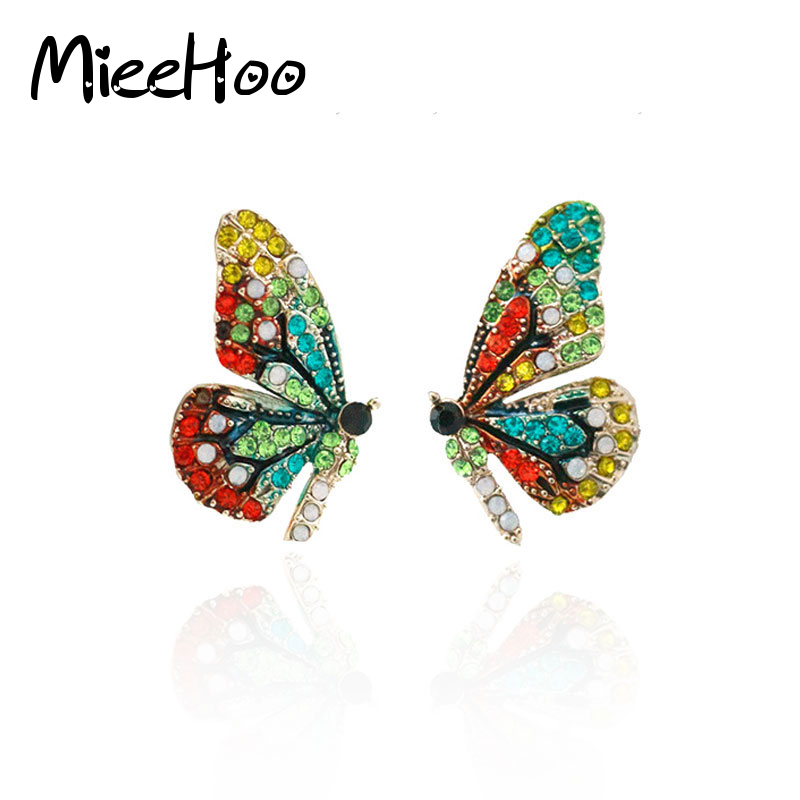 Newest Best Dominated Gold Color Austrian Crystal Lovely Butterfly Stud Ear Women