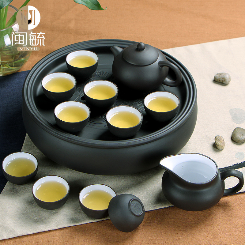 Yixing Purple Clay tea set,Kung Fu Ceramic teapot teaset with Tray for friend gift