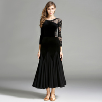 New Arrival Set Women Ballroom Dance Dress(Top+Skirt) Leotard Velvet Ballroom/Modern/Jazz/Waltz/Tango Standard Blamenco Dress