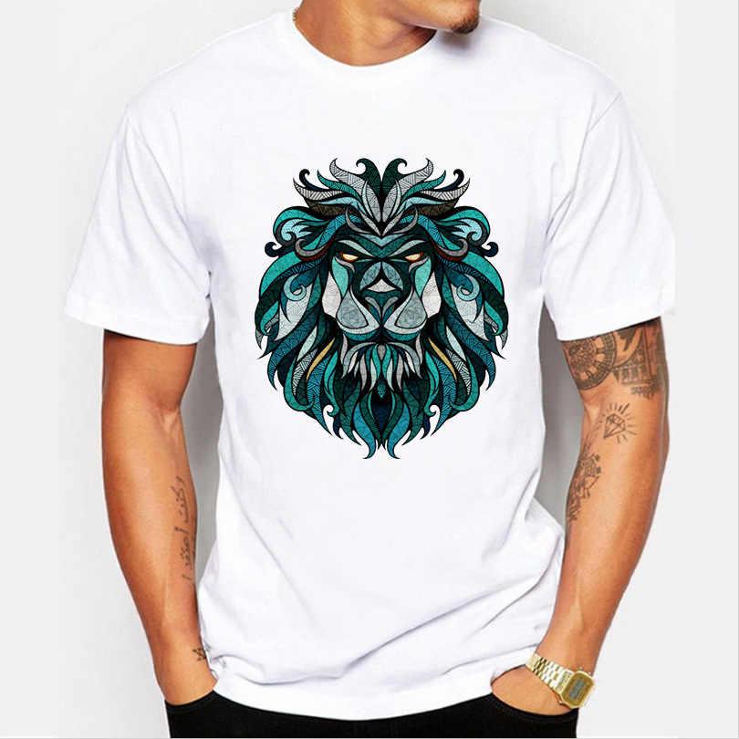 Uomini Magliette e camicette 2019 di Estate Corona Leone 3D Bianco T-Shirt da Uomo Stampa Animale di Modo di T-Shirt Da Uomo Casual del Bicchierino-Manicotto tee Shirt Homme 4XL