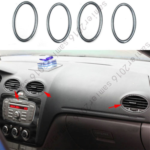 Couleur de Fiber de carbone de garniture d'anneau de sortie d'air avant de 4 pc pour Ford Focus 2005-2010