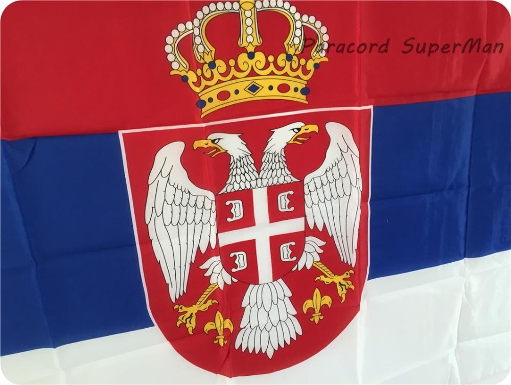 SRB SERBIAN FLAG pankartı 3ft x 5ft asma Bayraq Polyester SERBIA - Komanda idman növləri - Fotoqrafiya 3