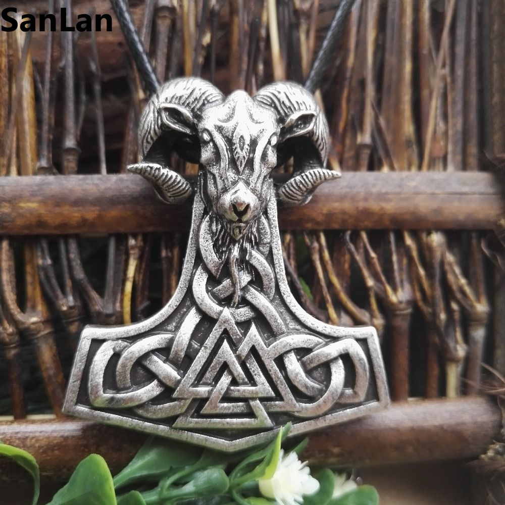 1pcs dropshipping viking goat jewelry thors hammer pendant