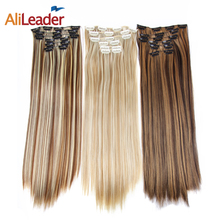 hot deal buy alileader clip in extensions ombre 16 colors 16 clips 22 inch full head hair extensions synthetic hairpieces for white women