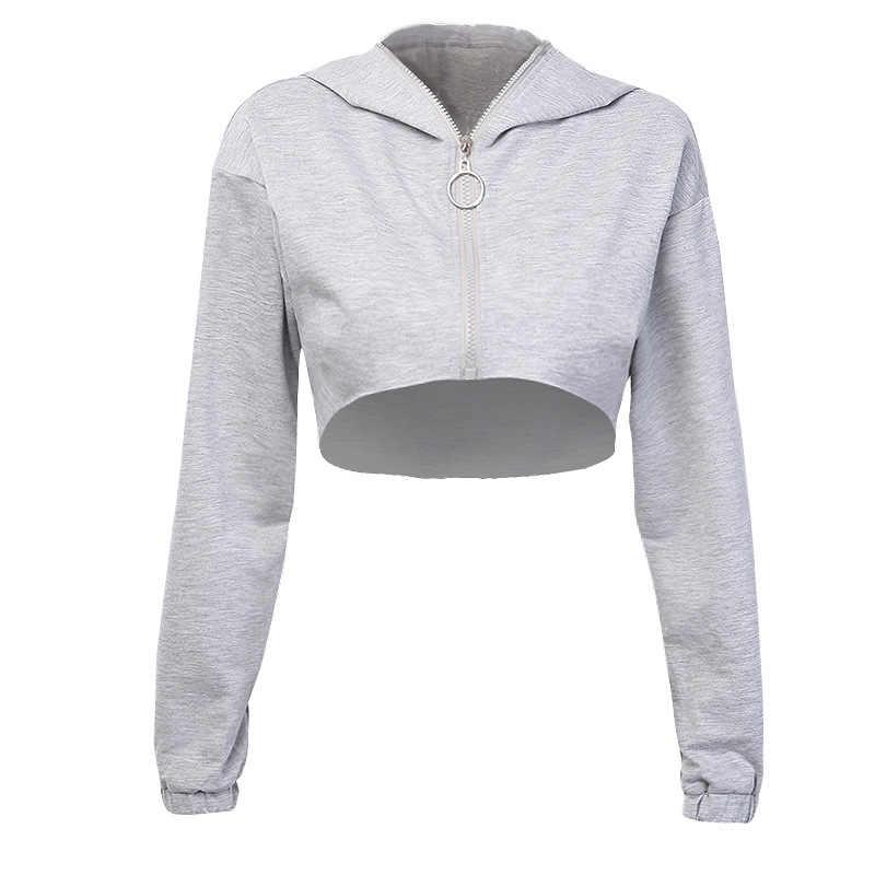 Shestyle Grigio Con Cappuccio Zip Up Breve Felpe Delle Donne 2019 di Estate di Autunno Anello Sexy Felpa Fresco Crop Top Nuova Moda Femminile giacca