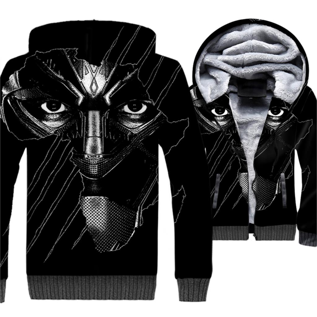 Super Hero Streetwear Hoodies For Men 3D Pattern Black Panther Jackets Male 2018 Autumn Winter Thick Men's Sweatshirts Fit M-5XL