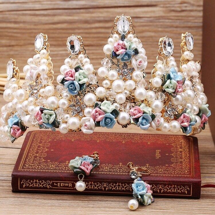 Simulated Pearls Ceramic Flower Bride Princess Diadem Bridal Tiara and Crown Pageant Wedding Hair Jewelry Accessories BH