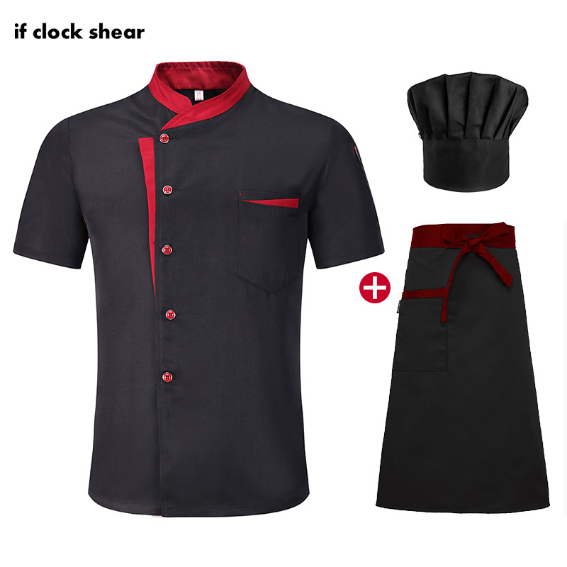 High Quality Unisex Chef Uniform Hotel Kitchen Work Clothes Short Sleeved Chef Restaurant Uniform Cooking Shirt Jacket+Hat+Apron