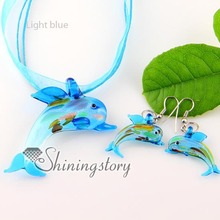 dolphin silver foil blown lampwork murano glass pendants and earrings jewelry sets cheap fashion jewellery