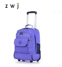 18 inch nylon waterproof school bag luggage with wheels travel trolley backpack