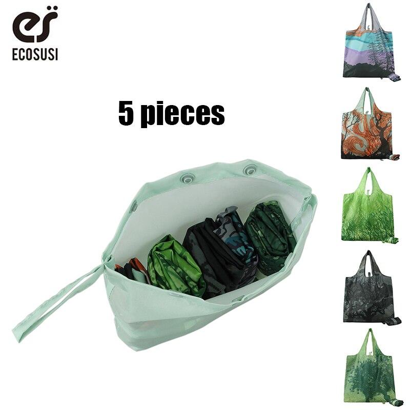 Ecosusi 5Pcs/Sets Printing Foldable Shopping Bags Reusable Eco Shopping Bags Promotional Bags EcoTote Bag new style cartoon fruit lemon eco bag useful nylon foldable reusable shopping bags