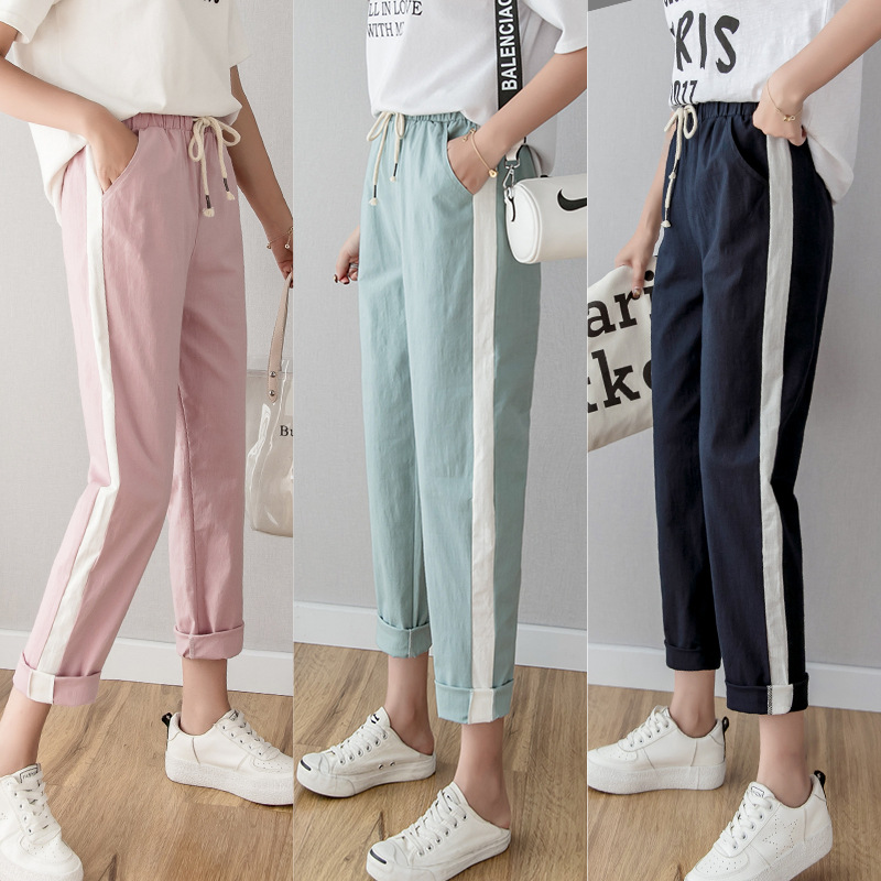 2019 New Summmer Casual Pants Women Cotton Linen Pant Elastic Waist Side Striped Harem Pockets Loose Plus Size Trousers