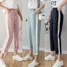 2019 New Summmer Casual Pants Women Cotton Linen Pant Elastic Waist Side Striped Harem Pockets Loose Plus Size Trousers