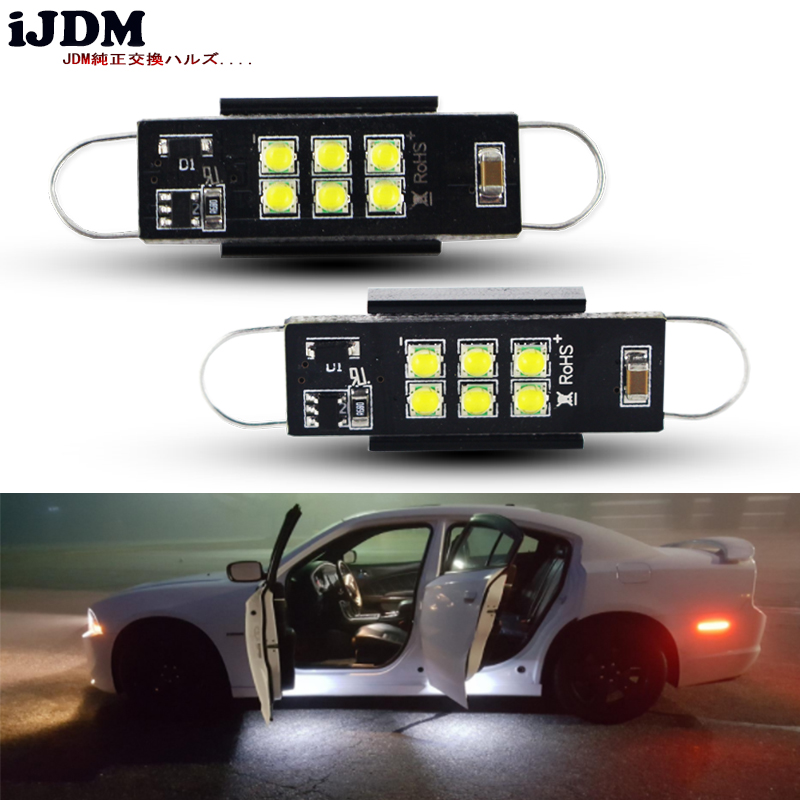 iJDM Car canbus 43mm LED Festoon 211-2 212-2 214-2 561 White For Car Side Door Courtesy Lights Dome Interior Reading Light 12v