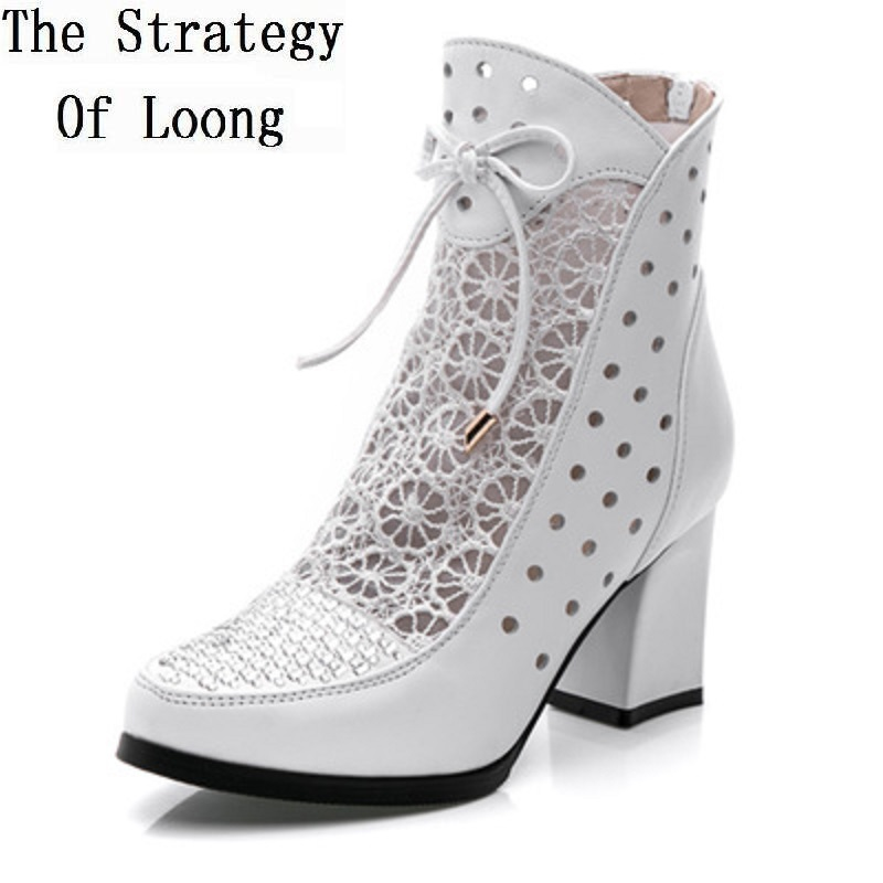Thick Heels Lace Full Grain Leather Women Summer Sandals Boots Genuine Leather Cut Out Lady Ankle Boots New Arrival Short Boots drop shipping 2015 fashion arrive sexy full grain leather lady high heels motorcycle boots for women genuine leather ankle boots