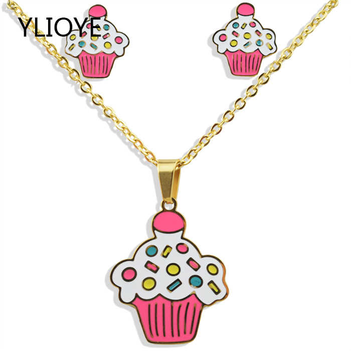 Cartoon ice cream cake Stainless Steel 100% Golden Plated Necklace Earrings Sets Woman/Man/Child Gifts Jewelry Set Wholesale