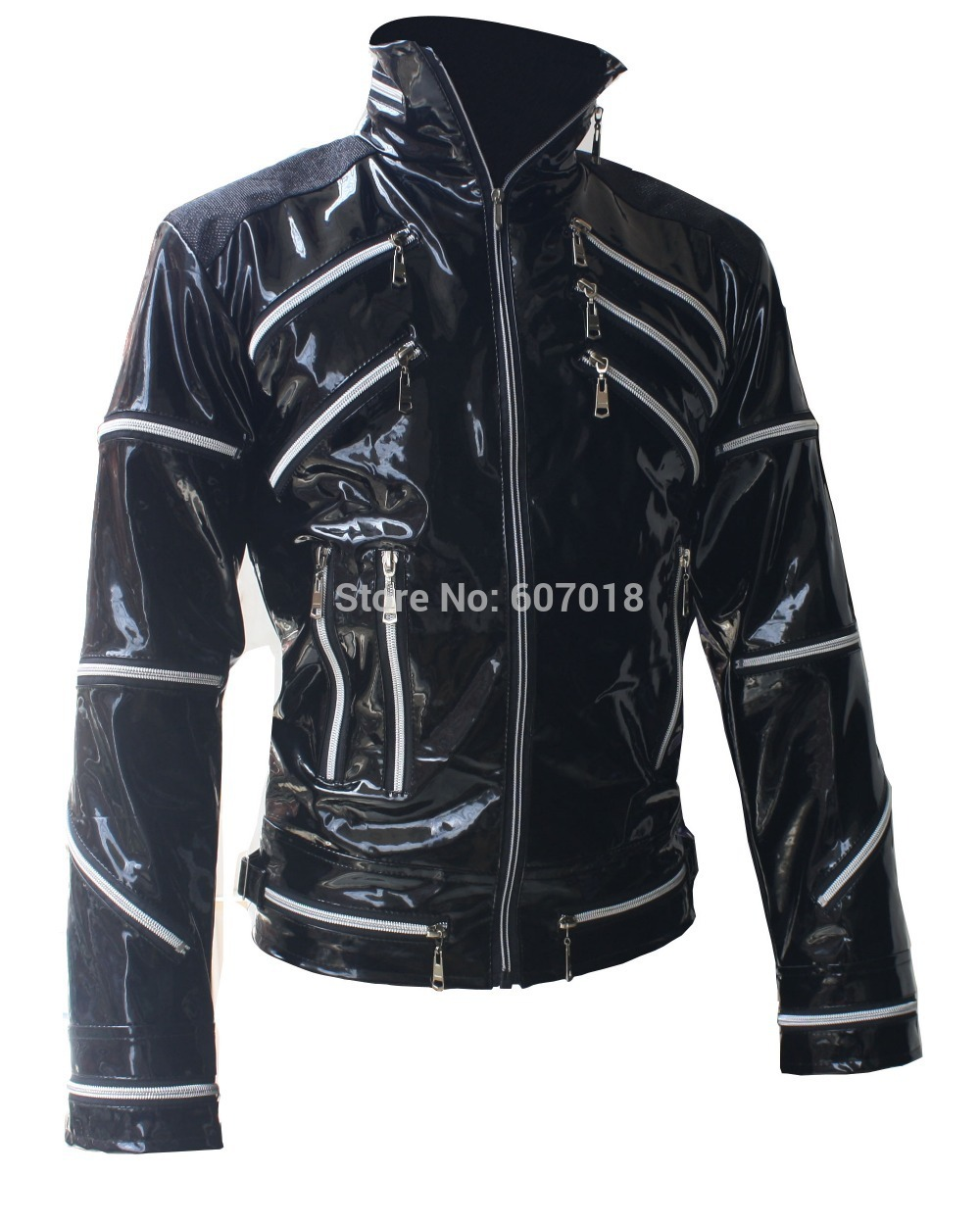 Rare PUNK Rock Motorcycle Classic MJ MICHAEL JACKSON Costume Beat it Black Zipper Jacket For Fans Imitator Best Gift