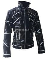 Rare PUNK Rock Motorcycle Classic MJ MICHAEL JACKSON Costume Beat it Black Zipper Jacket For Fans Imitator Best Gift
