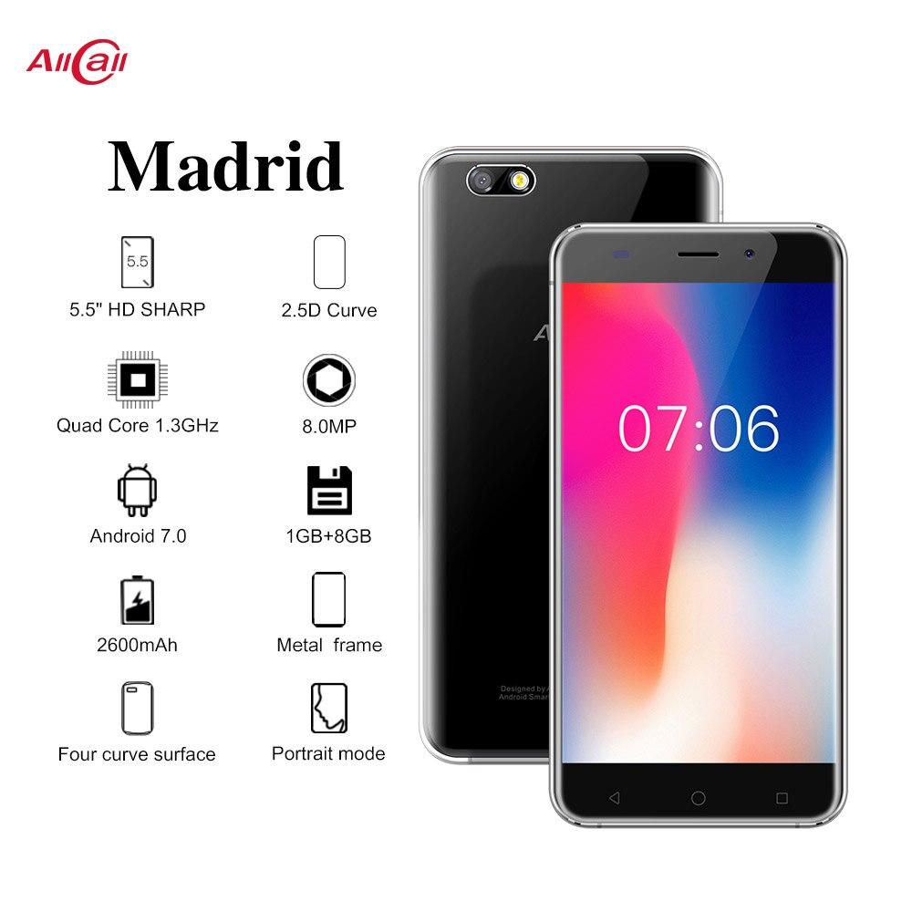 AllCall Мадрид 3g смартфон 5,5 дюймов 1280x720 пикселей HD дисплей MTK6580 четырехъядерный 1 ГБ ОЗУ 8 Гб ПЗУ 8МП + 2МП камеры мобильный телефон