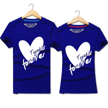2019 New Fahison Couple T Shirt Heart Print Love Tops for Lovers Summer Men and Women Valentine's Tops Tees 1