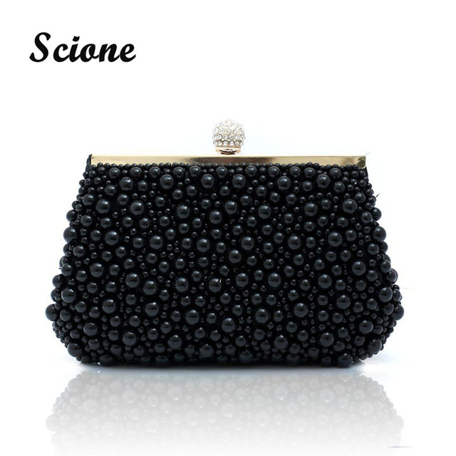 2016 New Design white color pearls beaded evening bags, fashion women handbags, Exquisite vintage handmade PEARL clutches 08987