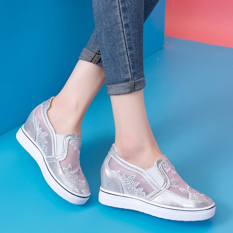 Rimocy cyrstal floral silver loafers women summer 2019 breathable air mesh height increase shoes woman slip on platform sneakersRimocy cyrstal floral silver loafers women summer 2019 breathable air mesh height increase shoes woman slip on platform sneakers